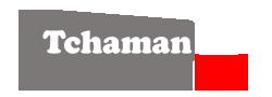 Logo TCHAMAN TV blanc noir